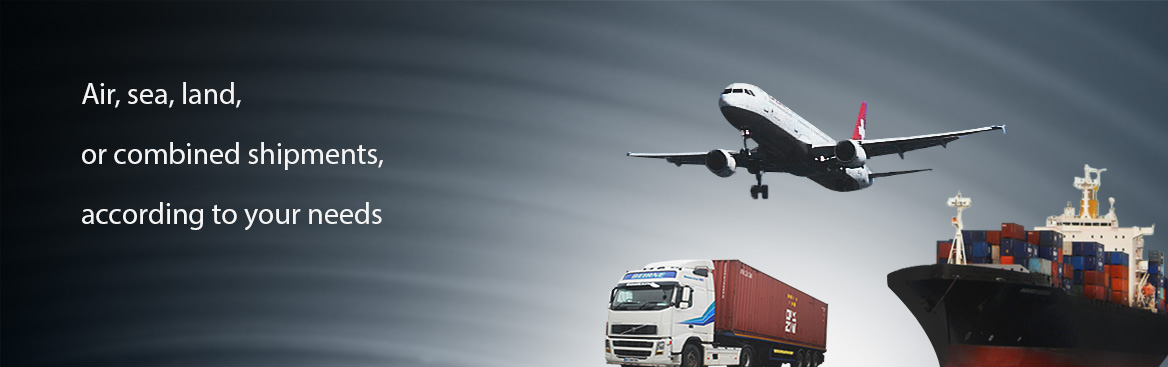 Air, sea, land, or combined shipments, according to your needs